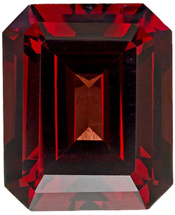 Bright & Lively Garnet Loose Gemstone in Emerald Cut, Rich Red, 10.9 x 8.9 mm, 6.03 carats - SOLD