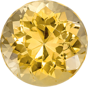 Golden Yellow Topaz Genuine Gem in Round Cut, 11.1 mm, 6.64 Carats