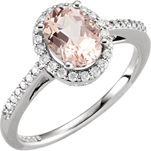 Amazing Genuine 1.25 ct 8x6mm Morganite Gemstone Halo Ring in 14k White Gold - 1/5 ct Diamond Accents