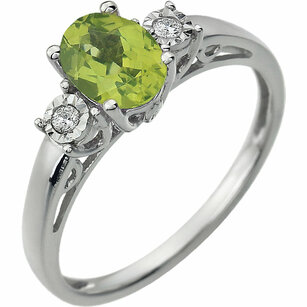 Pretty .9ct 7x5mm Oval Genuine Peridot Gemstone Ring in 14k White Gold - .04 ct Diamond Accents