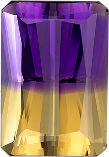 Intense Loose Ametrine Gem in Emerald Cut, Super Colors in 19.3 x 13.4 mm, 16.92 carats
