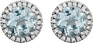 Classy 1.7 ct 6mm Aquamarine Birthstone Earrings With Halo Diamond Accents in 14k White Gold - 6mm Round Gem