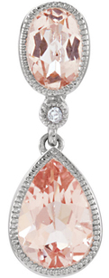 Fun & Girly 1.31ct 14k White Gold Morganite Gemstone Pendant With Diamond Accent - 6x4mm Oval & 8x6mm Pear Shaped Morganite - FREE Chain - SOLD