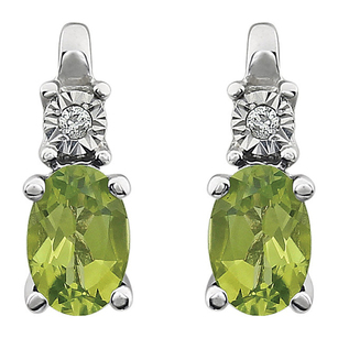 Elegant 14k White Gold Post Back Earrings With 6x4mm Oval Peridots and Diamond Accents