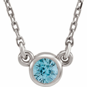 14KT White Gold Blue Zircon 16
