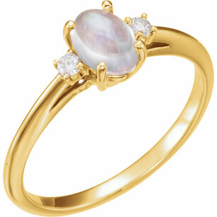 14KT Yellow Gold Rainbow Moonstone & .06 Carat Total Weight Diamond Ring
