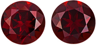 Bright & Lively Red Garnet Matched Pair in Round Cut, Vivid Rich Red Color in 11 mm, 11.68 carats