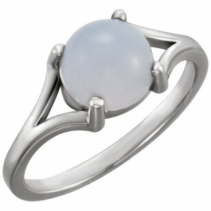 14KT Rose Gold 8mm Round Blue Chalecedony Cabochon Ring