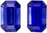 Special Pair of Fine Blue Sapphires in Pair of Emerald Cut, Intense Rich Blue Color in 5 x 3 mm, 0.69 carats - SOLD