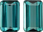 Teal Blue Green Tourmaline Well Matched Pair in Emerald Cut, 7.7 x 4.7 mm, 1.86 Carats