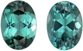 Pretty Teal Blue Tourmalines in Well Matched Pair in Oval Cut, Rich Teal Blue Green, 7 x 5 mm, 1.96 carats
