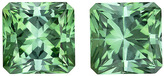 Super Tourmaline Well Matched Pair in Radiant Cut, Sea Foam Blue, 5.7 mm, 2.25 carats