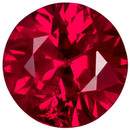 Super Gemmy Ruby Loose Gem in Round Cut, Open Rich Red & Clean, 4.3 mm 0.38 carats