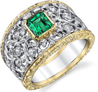 Chunky Filigree 2-Tone 18kt Gold Band Ring With Super Gem .73ct Emerald Cut Emerald Center - 0.30ct Diamond Accents