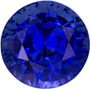 Serious Fine Round Sapphire Loose Gem in Intense Rich Blue Color in 7.3 mm, 2.27 carats