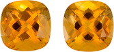 Super Citrine Well Matched Pair in Cushion Cut, Medium Rich Yellow, 10 mm, 7.53 carats