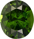 Green Zircon Loose Gem in Oval Cut in Rich Forest Green COlor, 10.4 x 9 mm, 4.54 carats