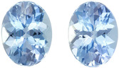 Gorgeous Blue Aquamarines in Well Matched Pair in Oval Cut, Rich Sky Blue, 8 x 6 mm, 2.24 carats