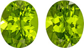 Fiery Natural Peridots Well Matched Pair in Oval Cut, Medium Lime Green Color in 11 x 9 mm, 7.68 carats
