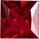 Fine Quality Ruby Loose Gem in Princess Cut, Open Rich Red, 4.2 mm, 0.39 carats