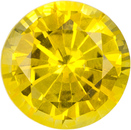 Round Yellow Sapphire Loose Gem in Rich Pure Yellow Color, 6.2 mm, 1.16 carats