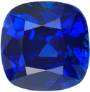 Genuine Certified Vivid Blue Sapphire Cushion Cut Gemstone in Vivid Blue Color, 7.71 x 7.62 mm, 3.07 Carats - With CDC Certificate