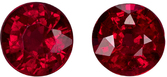 Bright Ruby Matched Pair in Round Cut, Vivid Pure Red Color in 4.2 mm, 0.77 carats - SOLD