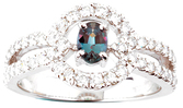 Captivating Genuine .34ct, 5.45 x 3.70 mm Alexandrite Solitaire Ring In A Fabulous Diamond Studded Mounting in 14k White Gold