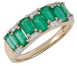 So Stunning! - Amazing 14k Yellow Gold Band Ring With 7 Exquisite 2.17ct 5x3mm Emerald Gemstones and Diamond Accents - SOLD