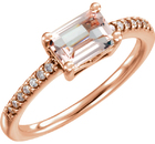 Pretty in Pink 14kt Rose Gold .78ct Long Octagon Morganite Gemstone Ring - 1/10ctw Diamond Accents