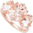 Unique 5.30 carat Triple Morganite 8x6 to 11x9mm Ring Set in 14 kt White or Rose Gold for SALE - Very Beautiful