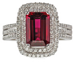 Intense Red Rubellite Tourmaline set with Lots Diamonds in Custom Ring - SOLD