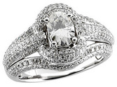 Dazzling Pave Diamond 14k White Gold Engagement Ring With 2.15ct 7x5mm Oval Moissanite Center