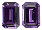 Hard to Find Pair of Unheated Purple Sapphire Gemstones, Fantastic Cut and Shape! Emerald  Cut, 1.36 carats