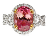 Feminite and Dainty Soft Pink Tourmaline & Pave Diamonds Gemstone Ring - 2 Tone 18 kt Gold - SOLD