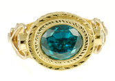 Ornate Handmade Custom Blue Zircon and Diamond ring in 2 tone gold for SALE - SOLD