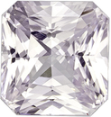 Radiant White Sapphire Natural Loose Gem in Radiant Cut, Pure Colorless White, 8.3 x 7.7 mm, 3.48 carats