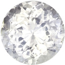 Colorless White Round Cut Sapphire Loose Stone, Very Colorless White, 7.4 mm, 2.02 carats