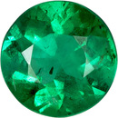 Round Bright Emerald Natural Gem in Vivid Rich Green, 5.5 mm, 0.54 carats