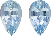 Appealing Aqua Well Matched Pair in Pear Cut, Rich Sky Blue, 10.5 x 6.5 mm, 3.66 carats