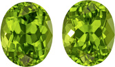 Calibrated Size Peridot Well Matched Pair in Oval Cut, Rich Lime Green, 10 x 8 mm, 6.57 carats