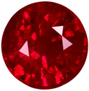 Engagement Ring Ruby Loose Gem in Round Cut, Vivid Open Red Color in Nice Size 5.7 mm, 1.04 carats