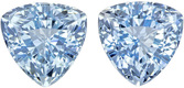 Fiery Blue  Aquamarine Matched Pair in Trillion Cut, Vivid Sky Blue Color in 7.0 mm, 2.6 carats