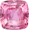 Genuine Loose Padparadscha Sapphire Gemstone in Cushion Cut, Nice Pinkish Color in 6.55 x 6.30 mm, 1.54 Carats - With GRS Certificate