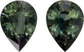 Hard to Find Sapphire Well Matched Pair in Pear Cut, Rich Green, 6.5 x 4.7 mm, 1.11 carats - SOLD