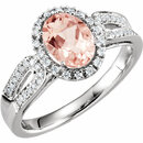 14KT White Gold Morganite & 1/5 Carat Total Weight Diamond Ring