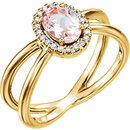 14KT Yellow Gold Morganite & 1/10 Carat Total Weight Diamond Ring