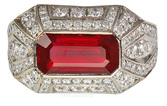 Vivid Thai Ruby set in Handmade Art Deco Style Diamond Ring  - SOLD