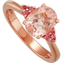 So Pretty! 1.98ct 9x7mm Morganite Ring with Pink Tourmaline Accents in 14 Karat Rose Gold for SALE - SOLD