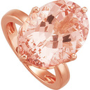 HUGE 12 carat GEM Genuine18x13mm Morganite Cocktail Ring in 14 Karat Rose Gold - Very Eye-Catching! - SOLD